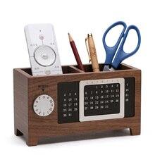 Porte-stylo en bois école bureau organisateur Table stylo crayon conteneur 2 grilles boîte de rangement avec calendrier