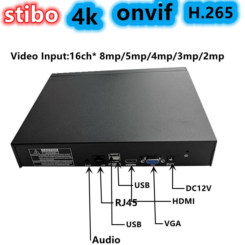 4K 8MP NVR 16CH onvif الترا H.265 1SATA لشبكة كاميرا ip مسجل فيديو CMS مراقبة المحمول P2P UNV التكنولوجيا