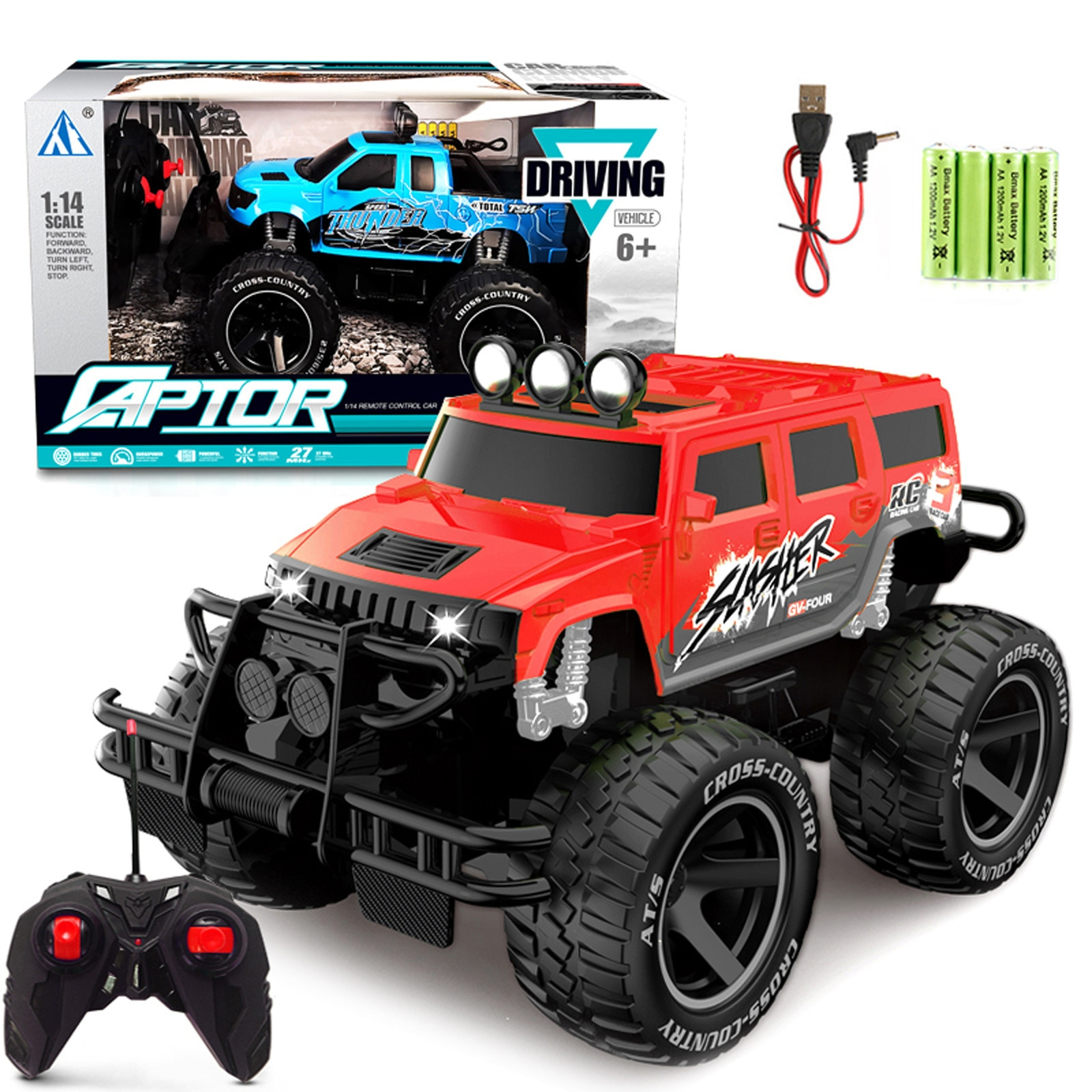 Rc Car Toys For Kids 1/14 Scale 15km/h 2wd Land Off-road With Car Light Remote Control Car Rc Toys C
