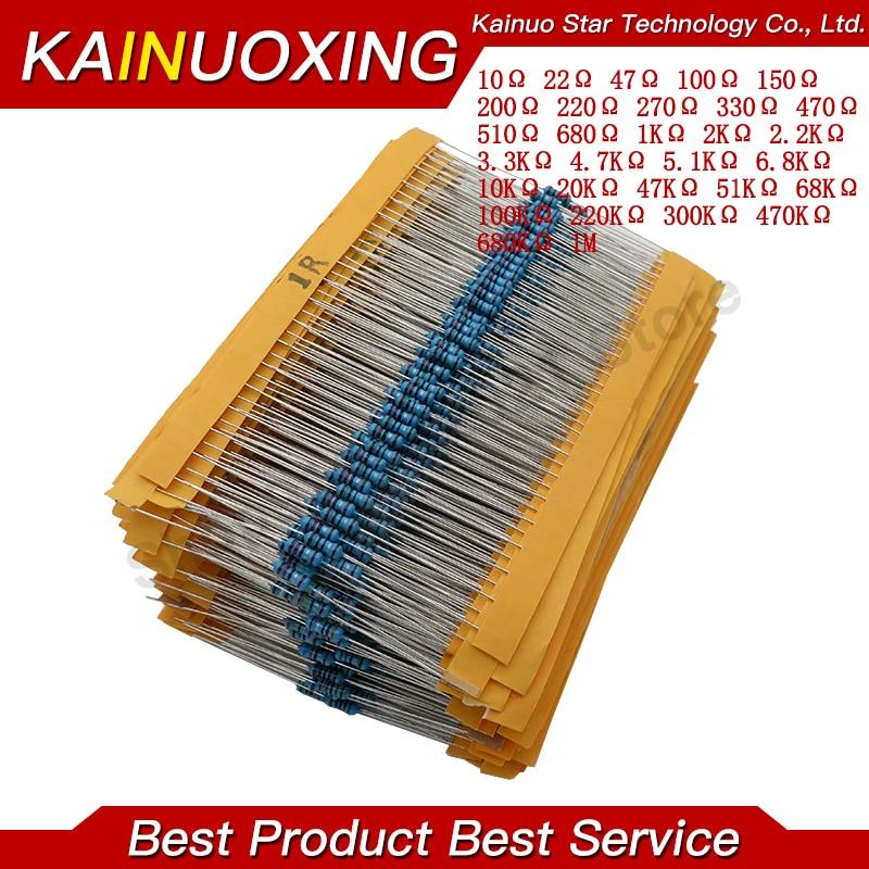 600 pçs/set 30 Tipos 1/4W Resistência 1% Metal Film Resistor Pacote Kit Sortido 10 1K K 100K 1M Resistores 220ohm 300 pçs/set Resistores    -