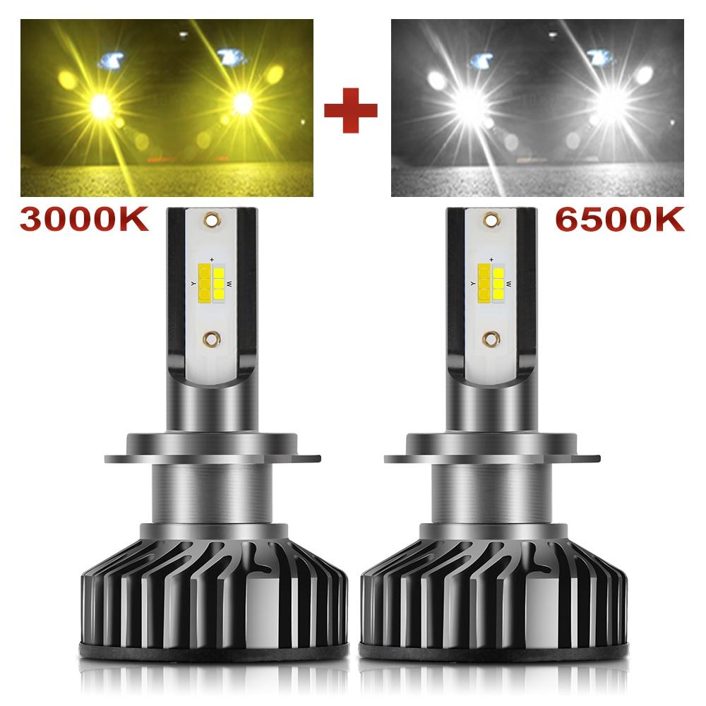 BraveWay 3000K + 6500K H1 H11 H8 H9 H7 doble Color Bombillas de faros LED H7 LED Canbus HB3 HB4 bombillas LED para coche 12V 24V lámparas antiniebla