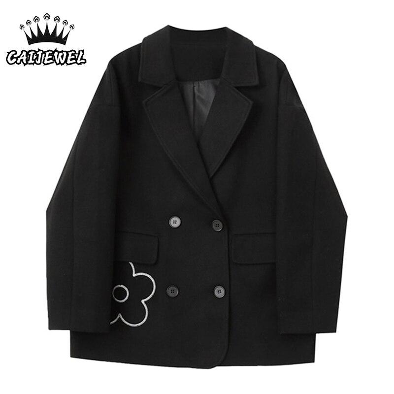 Шерстяной Блейзер, пальто, корейская мода, осень и зима, дизайнерские мешковатые женские топы, черные куртки, верхняя одежда, пальто