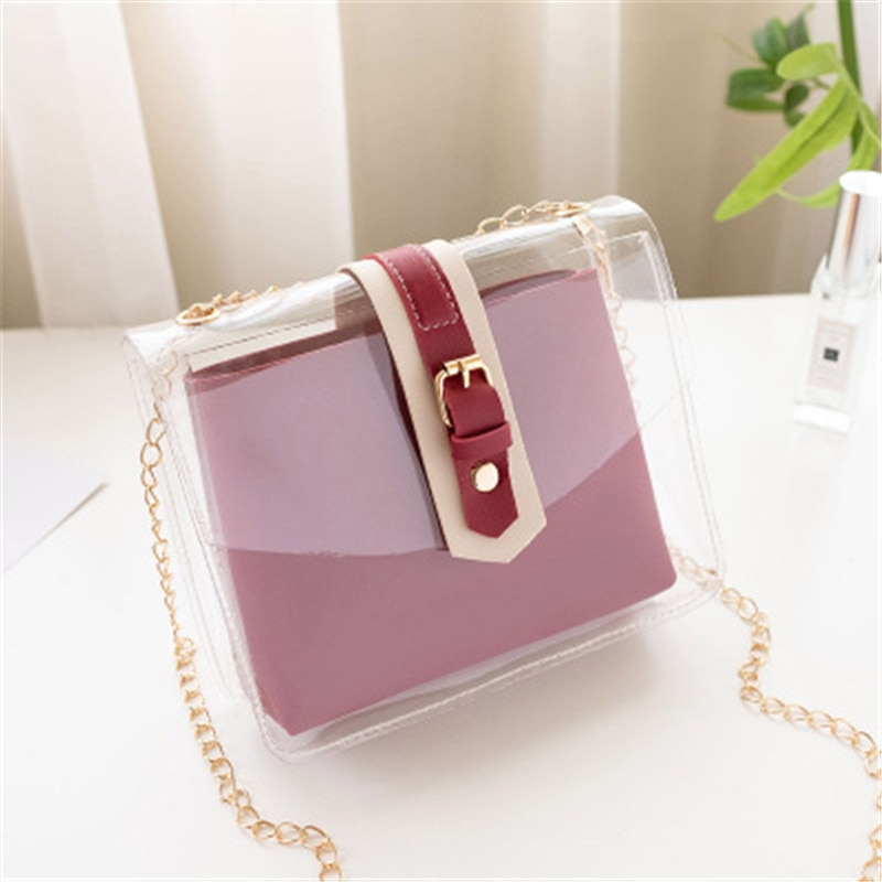 Fashion Transparent Women Bag Buckle Single Shoulder Bag Small Square Mobile Phone Chain Bag Black Red Pink Color