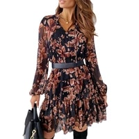 2021 autumn mid skirt stitching printed v neck long sleeved french high waist ruffled temperament dress
