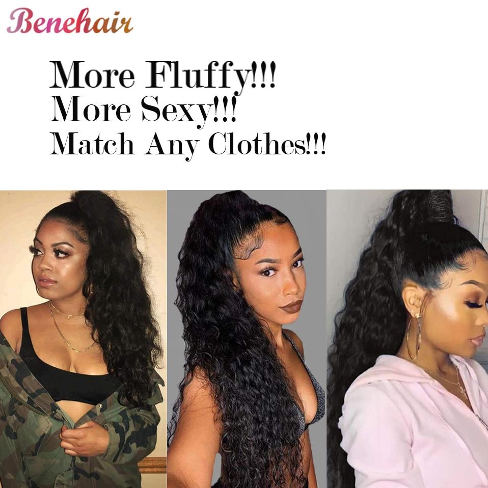 Benehair-peluca sintético de cabello rizado para mujer, pelo largo ondulado de 26 pulgadas con Clip en la cola de caballo, fibra de alta temperatura