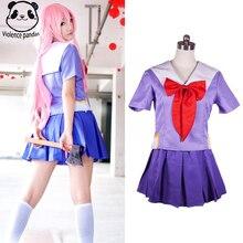 Drop Shipping Hot Future Diary Gasai Yuno Mirai Nikki School Uniform Cosplay Costume Suit Wig