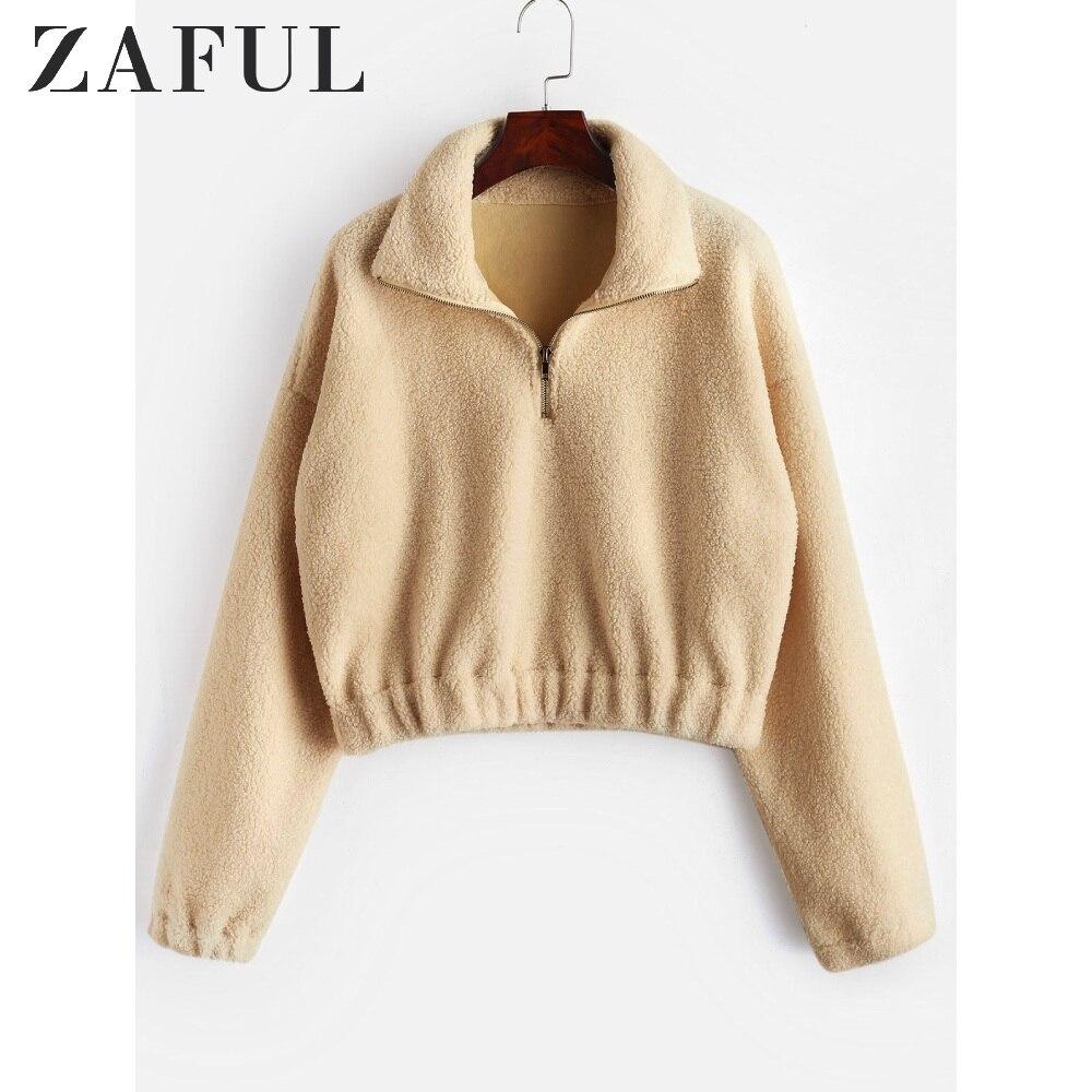 Sudadera con capucha de manga larga de color blanco para mujer de ZAFUL, sudadera corta de otoño e invierno, sudadera de piel sintética con cremallera de felpa, jerséis