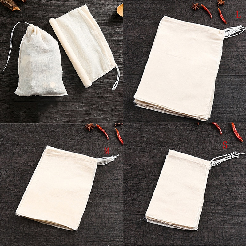 10Pcs/Lot Teabags Empty Scented Tea Bags With String Heal Seal Filter Paper For Herb Loose Tea 3 Size Household Merchandise