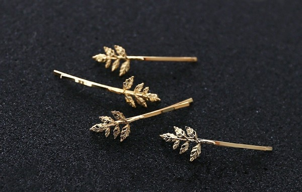 Hair Jewelry Gold Alloy Leaf Hairpins Women Girls Barrette Wedding Hair Accessories  - buy with discount