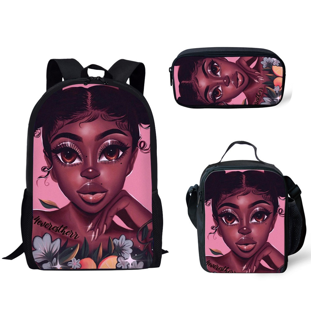 Cusotm mochila escolar impresa para niños 3 unids/set, Bolsa Escolar, arte africano, Impresión de chicas africanas, bolsa de libros para niños, bolsa primaria