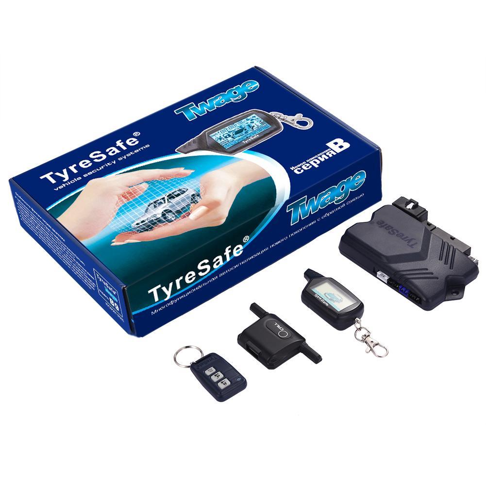 2019 nueva versión actualizada TYRESAFE B9 arranque bidireccional alarma de coche sistema de alarma antirrobo Control remoto con cubierta de silicona regalo