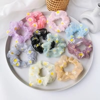 sweet printing daisy flowers mesh scrunchies women romantic pink hair rope transparent tulle organza hair tie hair accessories