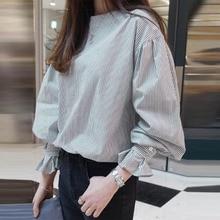 Women Blouse Tee Stripe Round Neck Lantern Sleeve Pullover Korean Spring Autumn Long Sleeve Office L