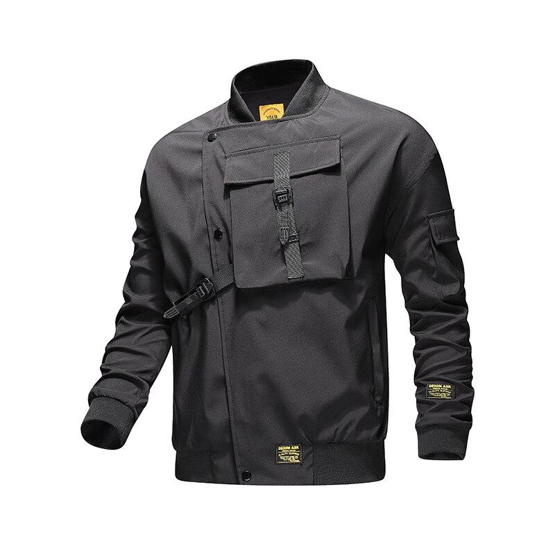 جاكيت منفوخ فضفاض للرجال بجيوب كبيرة ، معطف مقاوم للرياح ، هيب هوب غير رسمي ، ملابس ذات علامة تجارية ، ZA414