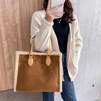 fahsion pu lambswool tote bag women big capacity handbags retro plush shoulder bags lady luxury designer winter top handle bag