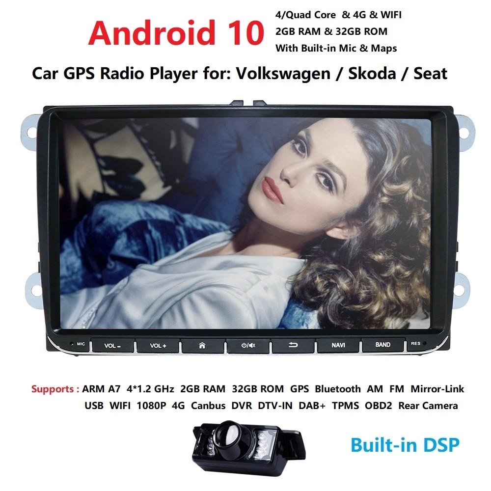 2Din автомобильный мультимедийный плеер 2G RAM Android 10,0 GPS для V W/Golf/Tiguan/Skoda/Fabia/Rapid/Seat/Leon/Skoda RDS управление стальным колесом