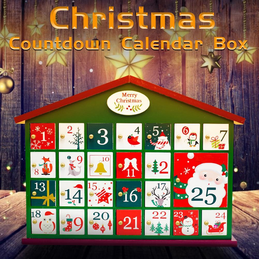 زينة عيد الميلاد خشبية العد التنازلي صندوق التقويم الأطفال الحلوى هدية تخزين منزل عيد الميلاد العد التنازلي التقويم البيت الأخضر