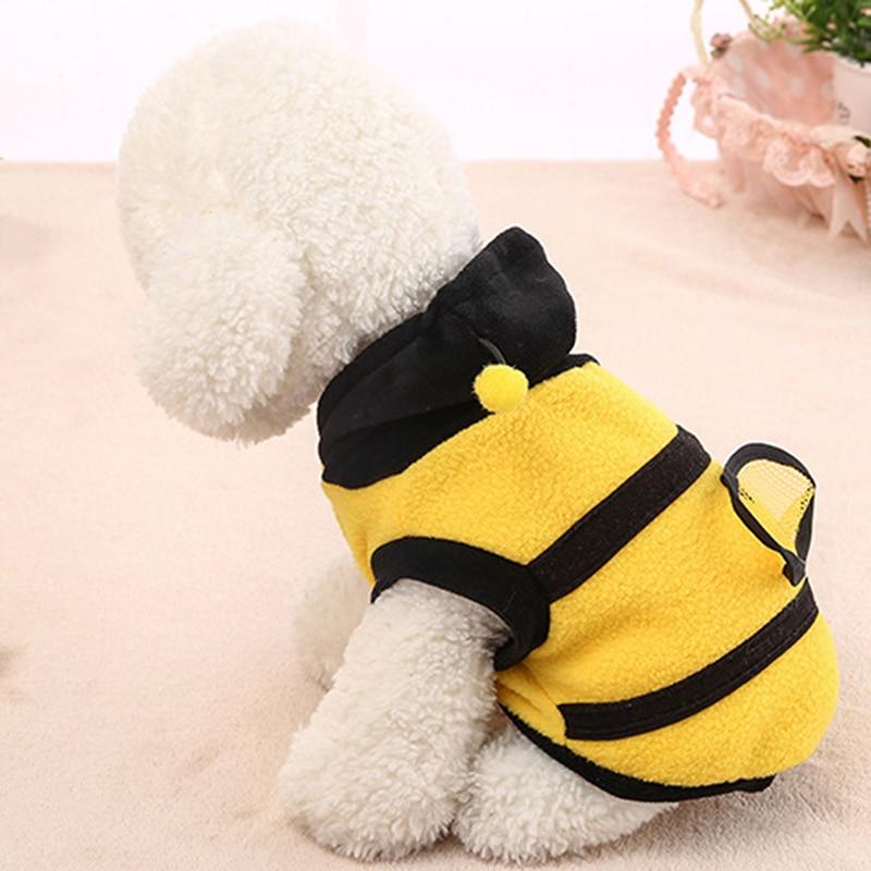 Ropa con capucha para mascotas Linda ropa de cachorro de lujo traje de abrigo de gato traje de estilo de abeja profesional para mascotas de casa
