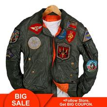 2020 chaqueta de piel de piloto USAF verde para hombres de talla grande 6XL piel de oveja genuina ajustada chaqueta de cuero de Aviador Militar de primavera