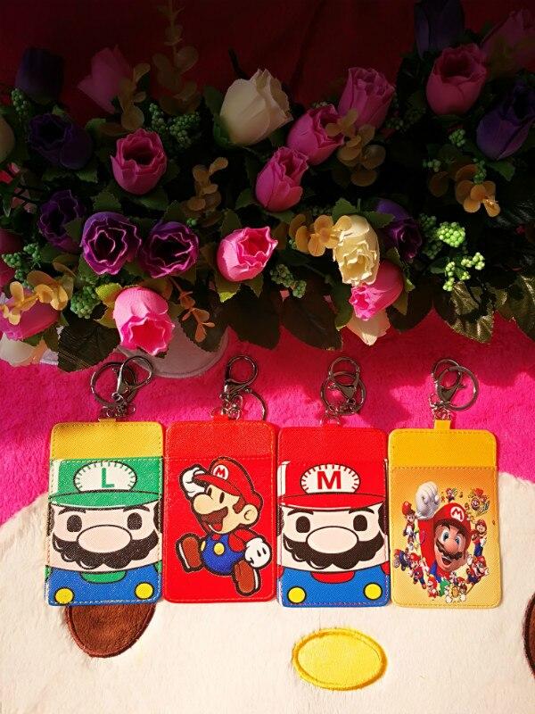 1 Uds Super Mario. Anime felpa tarjetero PU dibujos animados crédito ID bolsas moneda Bus tarjeta billetera chico chicas regalo nuevo