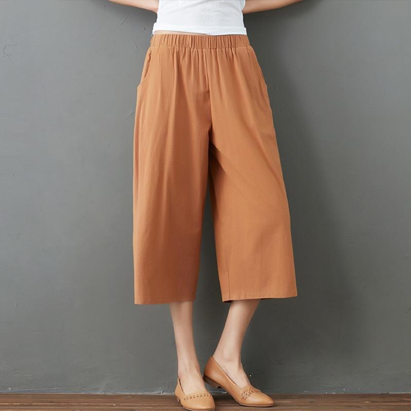 Cotton Linen Capri Pants Women's Summer New Artistic Loose plus Size Elastic Waist Casual All-Matchi