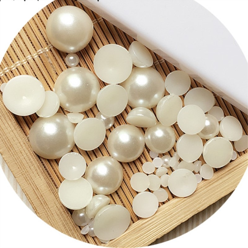 Halb Runde ABS Nachahmung Flache rückseite Perlen Acryl Perlen DIY Dekoration perle trim für handwerk kleidung schmuck machen