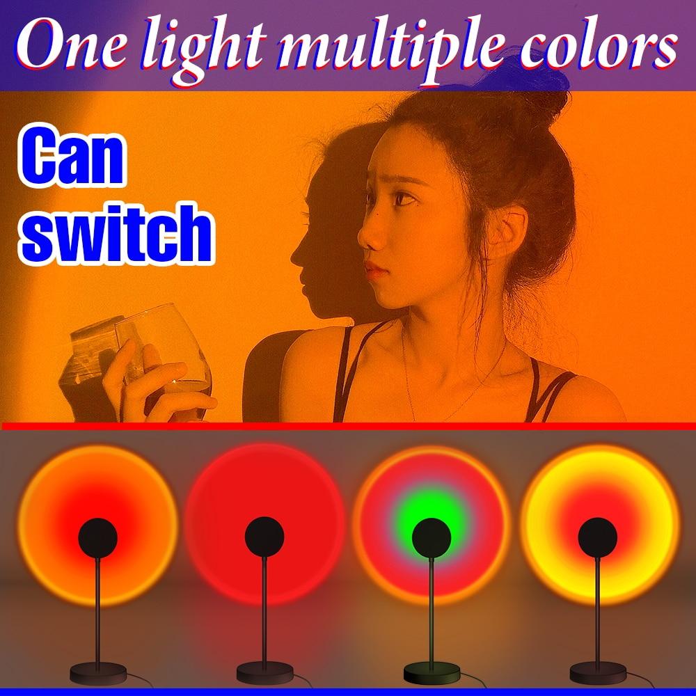 LED Projection Lamp Sunset Light Night LED Sunset Bulb Color Lamp 5V USB Rainbow Lamp Desk LED Decoration Atmosphere Lighting