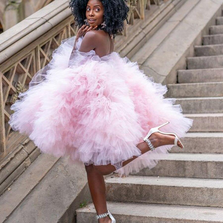 Verão rosa inchado babados curto tule vestidos femininos 2020 vestidos bonito mini tutu vestido feminino cor livre doce vestido