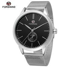 FORSINING Fashion Casual Automatic Mechanical Men's Watch Simple Waterproof Steel Mesh Belt Sports M