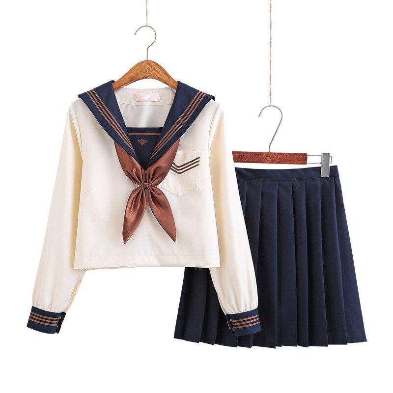 Japanese School Dresses Jk Uniforms Apricot Sailor Suit Anime Form Pleated Skirt Uniform Dress For High School Girls Students
