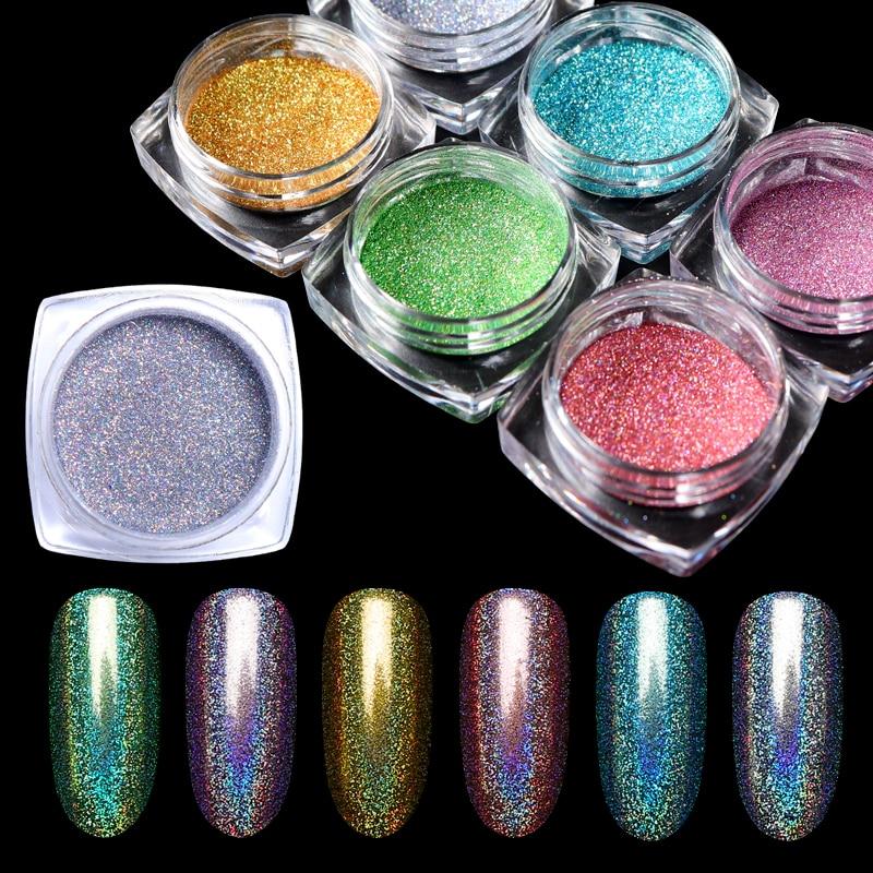 1g Holographische Gold Silber Nagel Chrom Pulver Laser Glitter Staub Pigment Pulver Holo Dip Gel Polnischen Maniküre Nägel Dekoration