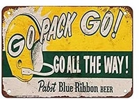 retro vintage metal sign 1961 packers and bar blue ribbon beer pub home decor vintage look reproduction tin signs 8x12 inch
