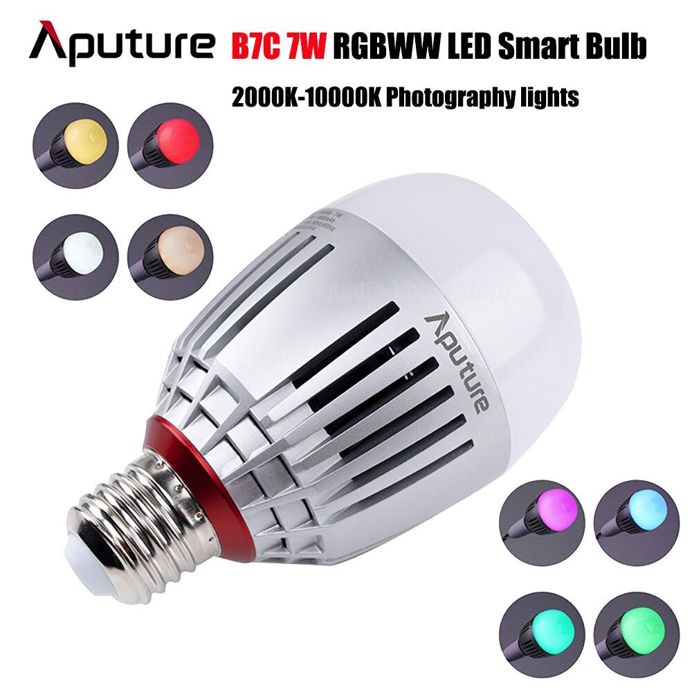 Aputure أكسنت B7C RGBWW LED مصباح ذكي 7 واط CRI 2000K-10000K قابل للتعديل 0-100% ستبليس يعتم App التحكم في التصوير الفوتوغرافي أضواء
