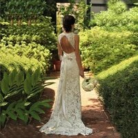 2021 modern delicate lace mermaid sleeveless bridal wedding dresses plunge v neck bow belt wedding gowns for bride cut out back