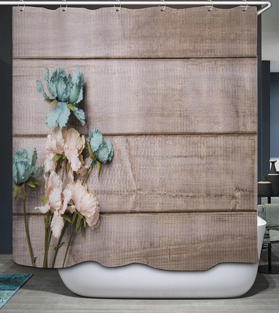 Tablones de madera, tablones, flores, tela, cortina de ducha, país primitivo Aqua
