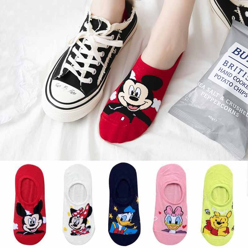 10 pieces = 5 pairs Korea Summer socks women Cartoon Animal bear mouse Socks Cute Funny Invisible cotton Ankle Socks Size 35-41