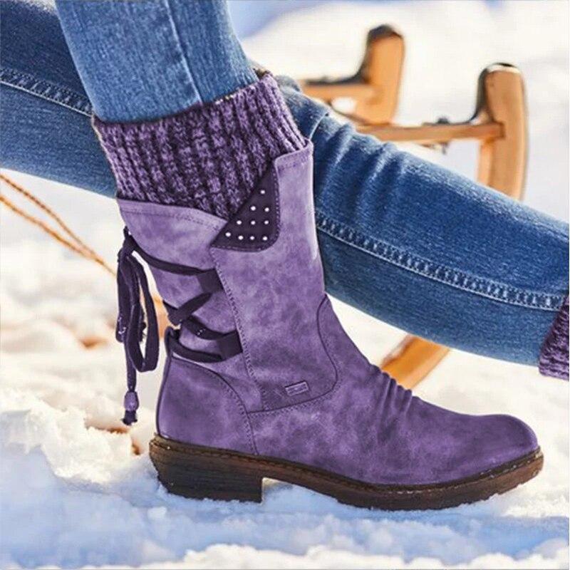 2020 damas zapatos de nieve de cuero genuino botas mujer botas de invierno de 2019 zapatos de mujer zapatos media pantorrilla damas botines plataforma
