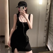 Korean Style Casual Dress Cotton Fried Street Square Collar Suspender Women's Summer Bottoming Dress