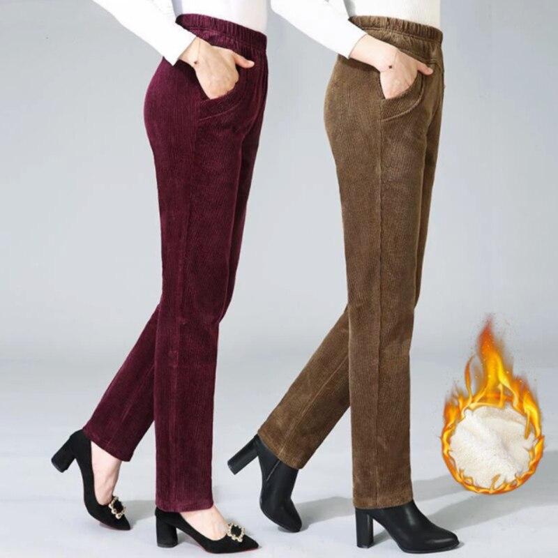 Теплые вельветовые брюки, женские осенне-зимние теплые бархатные прямые брюки, винтажные Свободные повседневные брюки с высокой талией и ш...