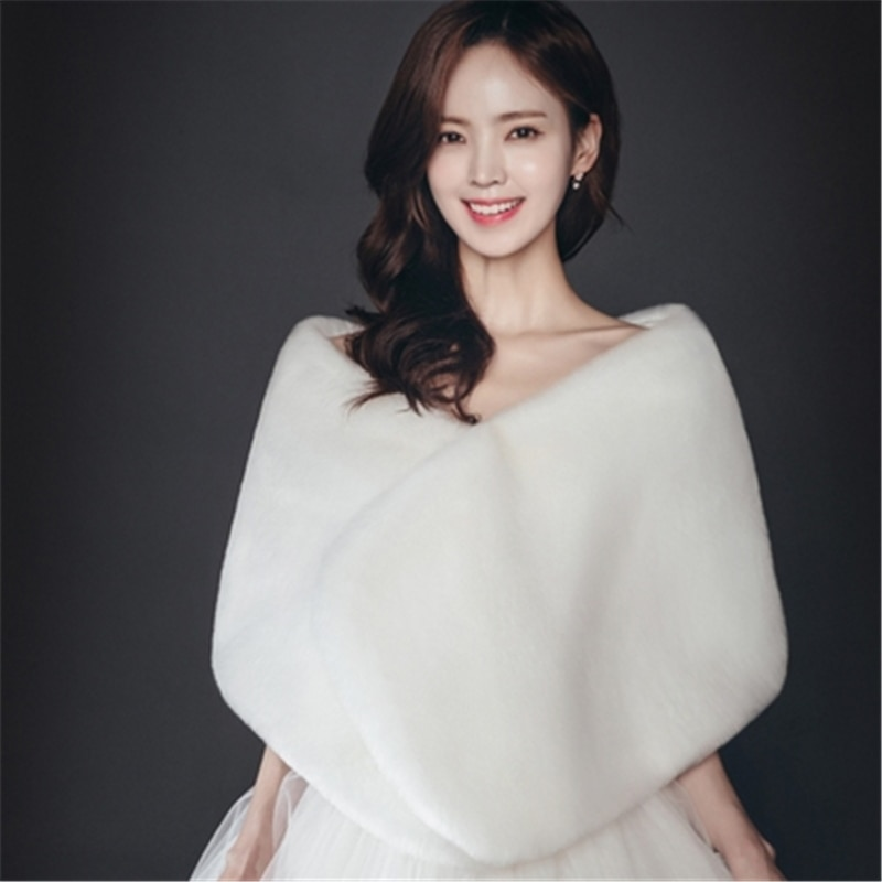 2019 nuevo Stock rojo blanco cálido Bolero novia capa Otoño Invierno piel Mujer chaqueta chal mantos de fiesta novia boda abrigo BM144