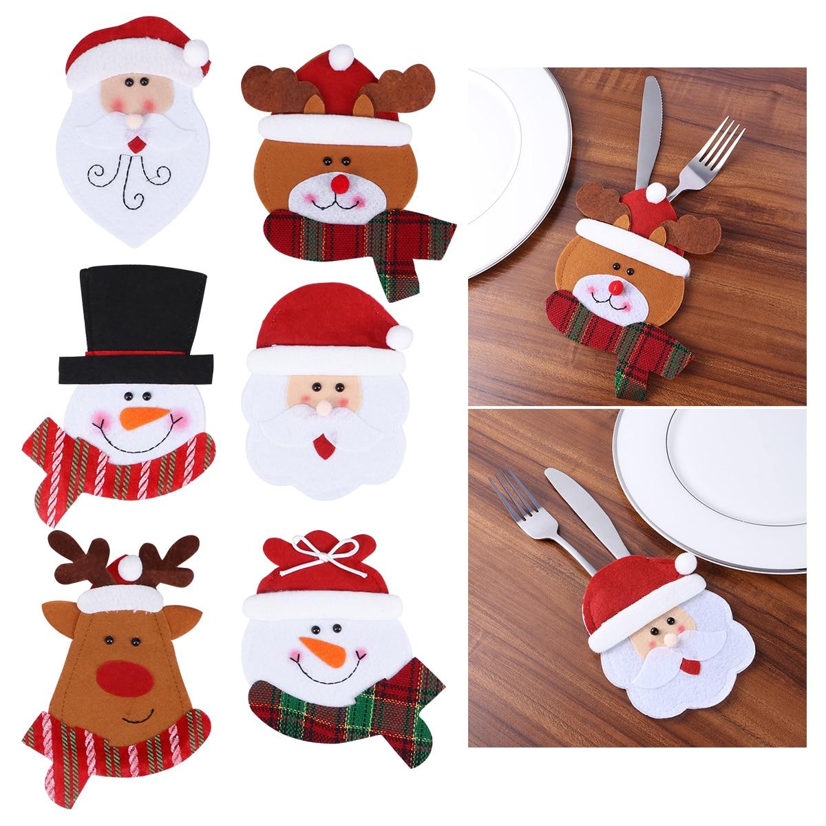 6 шт., милый Рождественский нож и вилка, сумка, кухонные столовые приборы, столовые приборы, держатели, карманы, рождественские украшения для ...