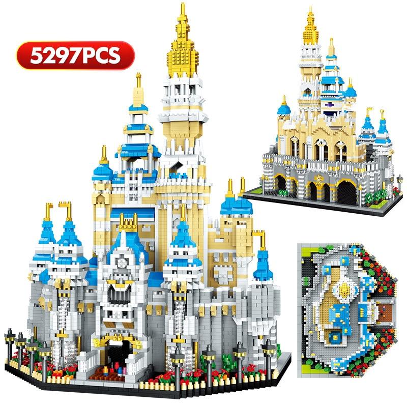 Creator 3D Diamond Magic Princess Castle Building Blocks City Mini Architecture Amusement Park Figur