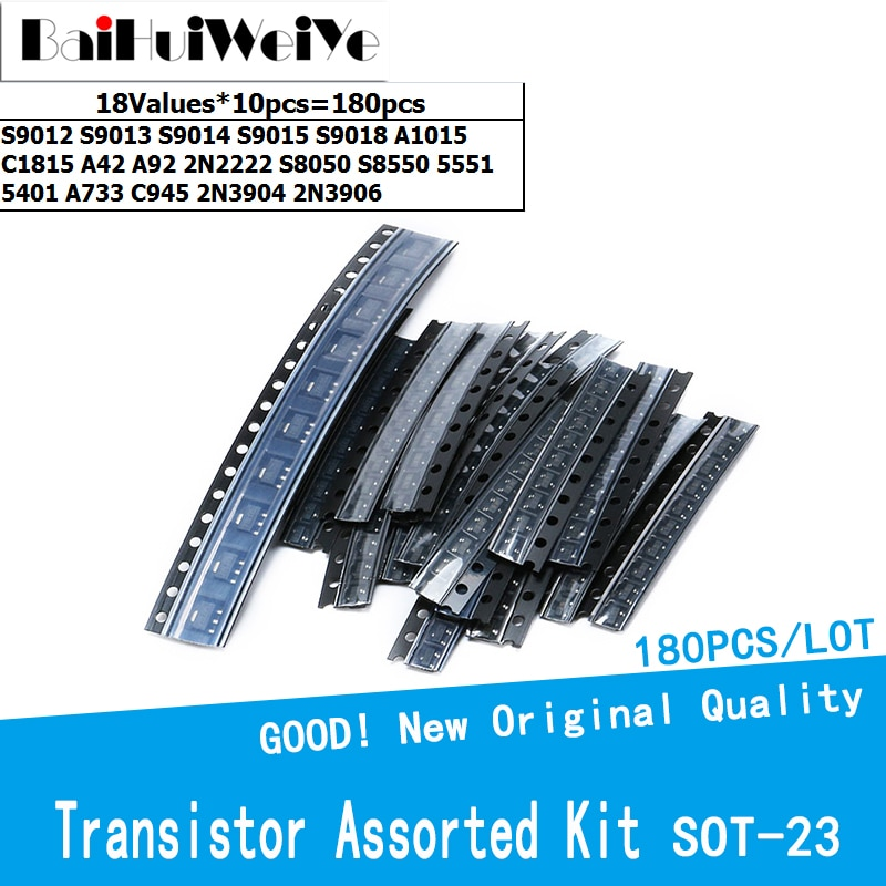 180pcs/lot Transistor Assorted Kit SOT23 18Values S9012 S9013 S9014 S9015 S9018 A1015 C1815 A42 A92 2N2222 S8050 S8550 5551 5401