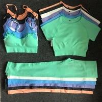 3pcs yoga set workout seamless women sportswear gym clothing sports suits fitness short sleeve crop top high waist leggings