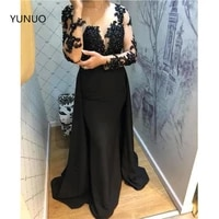 yunuo sexy illusion long sleeve evening dresses 2021 black formal dress satin lace prom gowns with appliques vestidos de fiesta