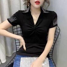 Mode dété vêtements coréens T-shirt Sexy col en v drapé diamants haut pour femme Ropa Mujer coton manches courtes chemise t-shirts nouveau T03205