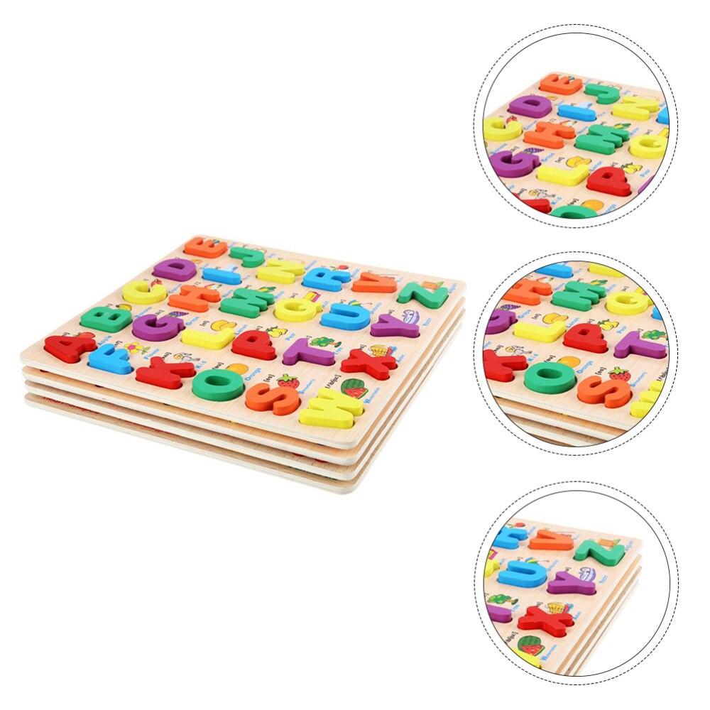 conjunto de 4 pecas placa de quebra cabeca com letras combinacao com numero infantil
