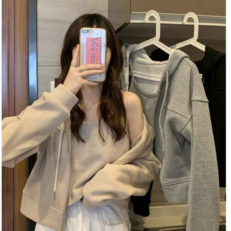 Hooded Zipper Hoodies Cardigan Women's Spring And Autumn 2021 New Jackets Loose Top And Coat Set