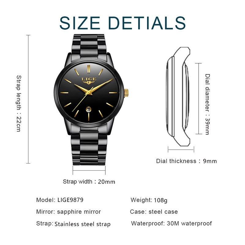 LIGE Women Watches Ladies Top Brand Luxury Stainless Steel Calendar Sport Quartz Watch Women Waterproof Watch Relogio Feminino enlarge