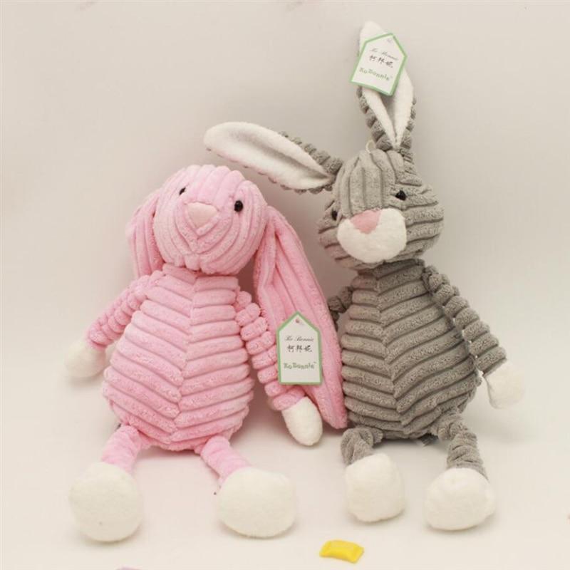 Animal relleno Peluche de juguete Kawaii conejo a rayas suave muñeca de peluche cojín almohada para abrazar bebé 3D juguete para dormir para el cuarto de niños